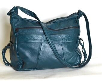 Vintage Dark Teal Mexican Patchwork Leather Shoulder Bag 1990s
