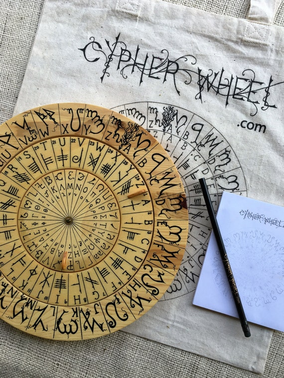 Cypher Wheel Cipher Disk Theban, Ogham, Enochian, & Celtic Runes, Secret Codes, Cryptography, Adventure Treasure Hunt Leon Battista Alberti