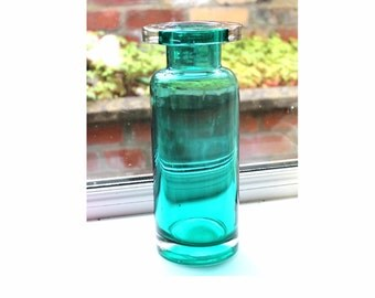Mid century modern teal/kingfisher cased glass vase