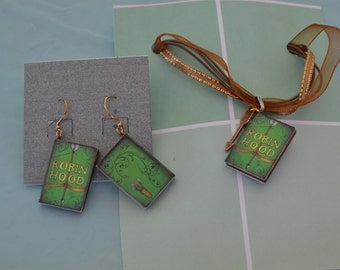Book Charm necklaces with matching earrings: Robin Hood