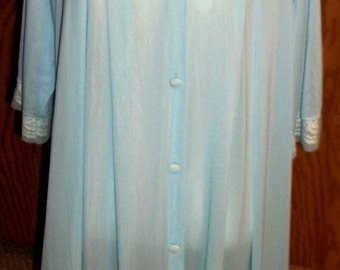 Vintage, Ladies Robe, Blue robe, Size Medium, Lace Robe, Lingerie,Herson Kickernick