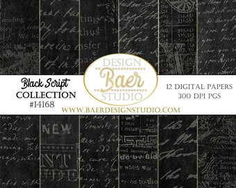 BLACK DIGITAL PAPER: Halloween Digital Paper, Script Digital Paper, Black Distressed Digital Paper, Black Photo Background Paper, #14168