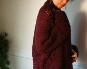 Oversized Cardigan Alpaca Blend Knit Open Sweater Cozy Knit Bordeaux Sweater