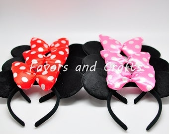 12 PCS Minnie Mouse Ears, Minnie Mouse Pluffy Jumbo RED, Pink Bows, Minnie Mouse Ears headband, Minnie Party Favors, Mouse Ears