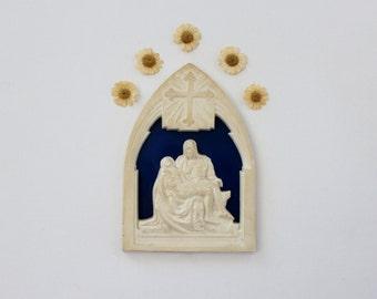 Vintage Pieta Plaque - Plastic Religious Wall Art - Michelangelo Pieta Gothic Wall Art