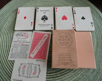 B881) Vintage Rare Chicago Evening American New Index Playing Cards