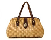 Reserved for Kelley: Vintage Wicker Purse with Brown Leather Handles // Simon Hand Made in Hong Kong // Large 1960s Basket Weave Handbag