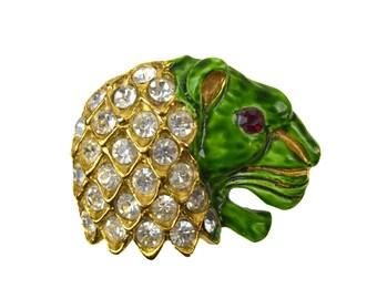 Vintage Richelieu Lions Head Brooch// Green Enamel Face, Red Rhinestone Eye, Clear Rhinestone Mane, Goldtone Metal // Figural Novelty Pin