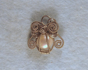 Pearl Angel Wire Wrapped Cage Pendant