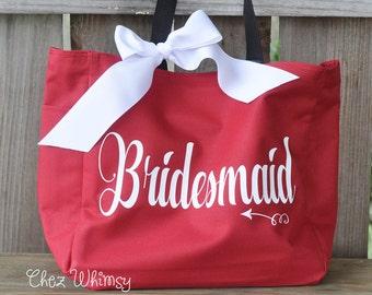 Bridesmaid Tote, Bridesmaid Goodie Bag, Personalized Bag, Tote with Large Print, Monogrammed Purse, Bridal Party Gifts, Bridesmaid Tote