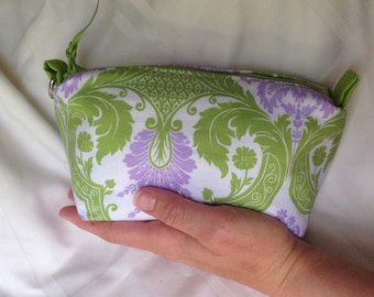 Modern paisley Essential Oils Case Pouch, holds 10 bottles, 5ml - 15 ml (.5 oz), Ready to ship.   Green, Purple.