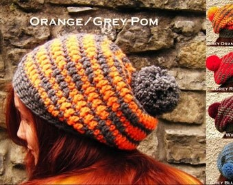 Crochet Bobble Hat Grey Striped Slouchy Beanie Adult Oversized Pom Pom