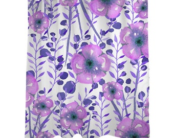 "Fabric Shower Curtain, Purple Watercolor Floral Shower Curtain, Quality Custom Order, Shower Curtain Standard 71""x74, Bathroom Decor"
