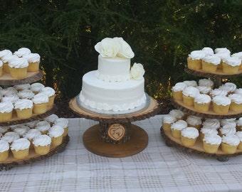 Tree Cupcake Stand, Log Cupcake Stand, Rustic Cake Stand, Wood Cupcake Stand, Cupcake Tower, Wedding Cupcake, Set of 3 Stands, Cake Stand