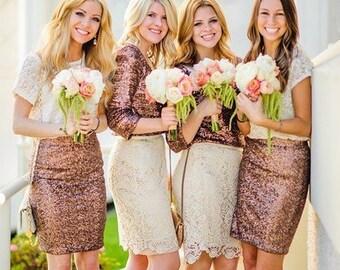Golden  sequin skirt, pencil skirt, bridesmaid sequin skirt