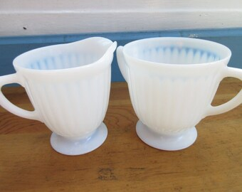 Vintage Monax Petalware Opalescent Glass Milk Glass Cream & Sugar Set