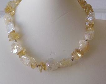 Rough Citrine Quartz Necklace & Bracelet Set, gift for her, handcrafted, artisan