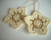 Crochet Christmas star ornaments Set of 2 creme and gold