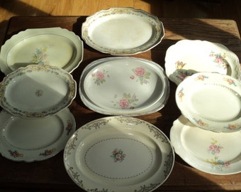 11 Vintage Ceramic Platters, A curated collection of  White Glazed Ceramic Trays for a Wall Display or for Serving in Very Good Condition