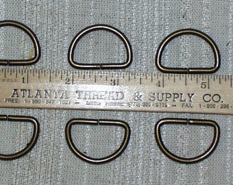"Antique Brass Colored 1"" D RIngs~Sold in Sets of 12~Ships Free~New    Ships Free"