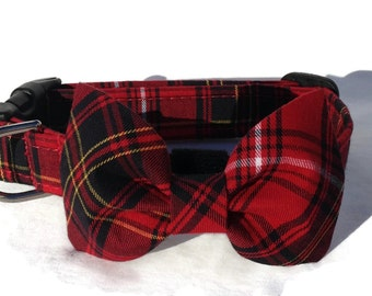 Red and Black  Tartan  Plaid Dog Collar and Bow Tie  Set for Small to Large Dogs