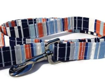 Get Preppy Striped  Dog Leash in Orange, White and Blue