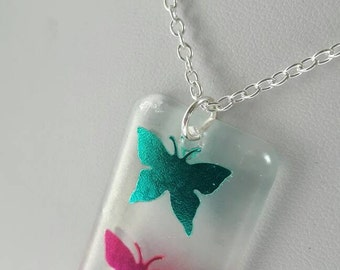 Butterfly resin necklace - twin butterfly pendant, butterfly necklace, wildlife necklace, resin pendant, resin necklace, nature, butterflies