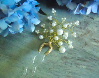 Brides Pearl Hair Pins, Wrapped Wire Hair Picks, Wedding Hair Pin, New Old Stock Fancy Hair Pins, Bridal Hair Pins, Five Available, Vintage