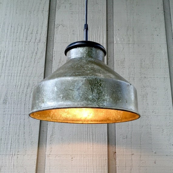 Rustic Pendant Light Upcycled Farm Funnel