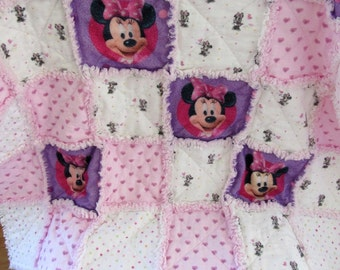 DISNEY Vintage Flannel Fabric Minnie Mouse 3-Layer Cotton Flannel Baby Rag Quilt Blanket