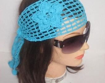 Crochet  Aqua Blue Headband with flower, Lace Head Bands for Women Summer Headband Turquoise Headbands, Aqua Bridesmaid Hair Accessories