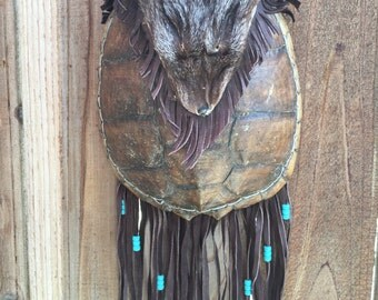 Vintage Native American Turtle Shell Bag Purse with Beaver Head