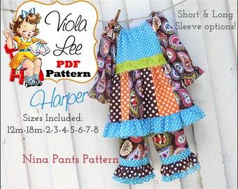 Harper Toddler Dress Pattern pdf. Girl's Peasant Dress Pattern. Girl's Sewing Pattern. Toddler Sewing Pattern.  Peasant Dress Pattern pdf