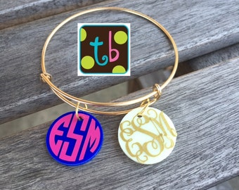 Gold or Silver Personalized Monogram Bracelet Bangle