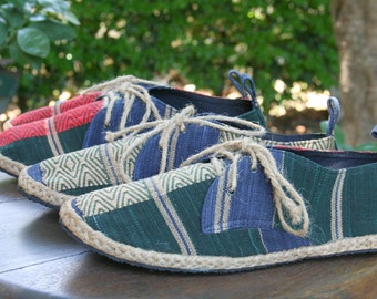 Vegan Mens Shoes, Lace Up Oxfords In Hand Woven Tribal Naga Textiles  - Matt