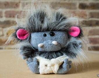 Suki Baby Sasquatch Plush- Grey with Pink Ears