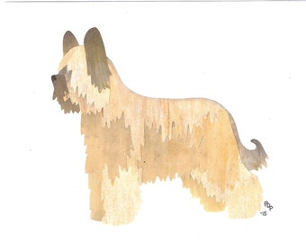 Briard handmade original cut paper collage dog art
