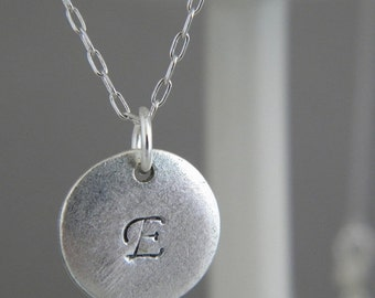 SALE Silver Initial Necklace