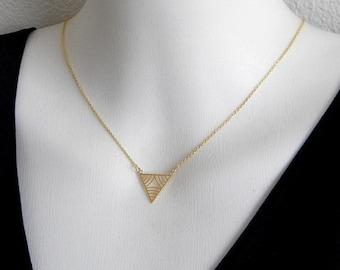 SALE Gold Triangle Geometric Necklace