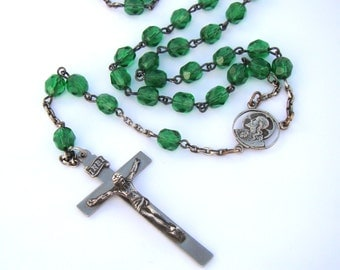 Gorgeous Vintage Green Vintage Sterling Rosary by AFCO