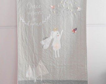 Custom modern baby quilt,Once Upon A time, Princess quilt, crib/throw quilt, nursery decor, nursery bedding, Shower gift idea, Made to order