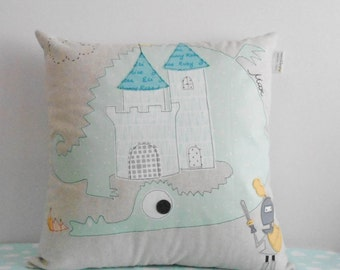 Decorative pillow cover/cushion cover/ Dragons and knights/Fantasy pillow cover/Kids room Decor/Customizable gift/ Made to order