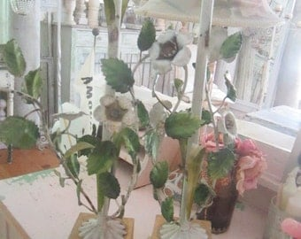 Italian Tole lamp Vintage flowers pair available shabby chic cottage
