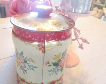 Vintage  tin canister with roses shabby chic