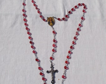 Vintage Religious Jewelry  Ruby red Beads  picture  and Cross