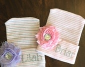 Personalized Newborn Hat Shabby Flower (newborn hospital hat, newborn girl, monogrammed, infant hat, baby hat, take home outfit)
