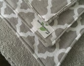 Wipes Unpaper Towels Reusable Paperless Flannel gray quatrefoil Set of 4