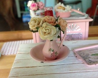 Dollhouse Miniature Shabby Chic Vintage French Victorian Style Metal Ewe with Matching Basin Shabby Pink with Detailed Roses Motif