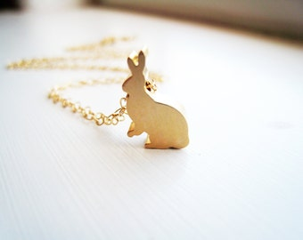 Bunny Rabbit Necklace Rabbit  Necklace Gold Rabbit Jewelry Nature Woodland Jewelry Gift Idea Under 20 Delicate Simple Necklace Petite Bunny
