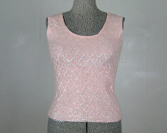 Vintage 1960s Pink Knit Shell top with Opalescent Sequins 60s Blouse Size 6 S/M